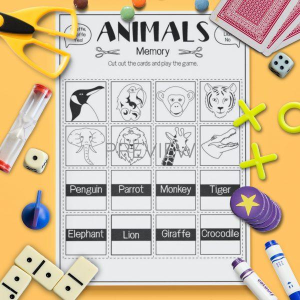 ESL English Wild Animal Memory Game Activity Worksheet