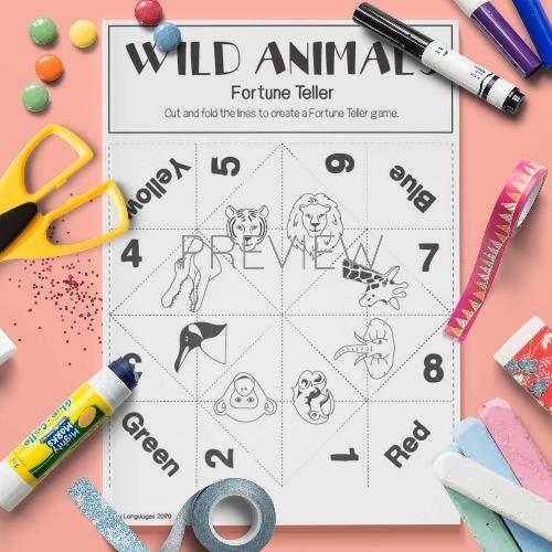 ESL English Wild Animals Fortune Teller Craft Game Activity Worksheet