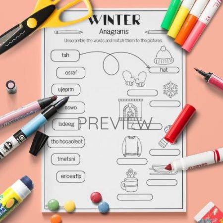 ESL English Winter Anagrams Activity Worksheet