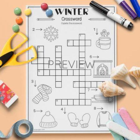 ESL English Winter Crossword Activity Worksheet