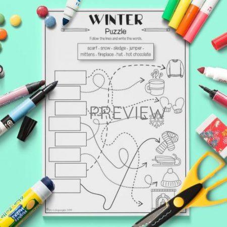 ESL English Winter Puzzle Activity Worksheet