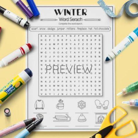 ESL English Winter Word Search Activity Worksheet
