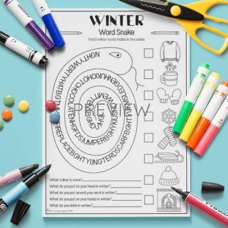 ESL English Winter Word Snake Activity Worksheet