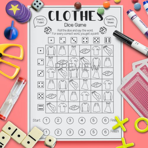 ESL English Clothes Dice Game Activity Worksheet