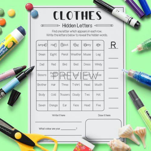 ESL English Clothes Hidden Letters Activity Worksheet