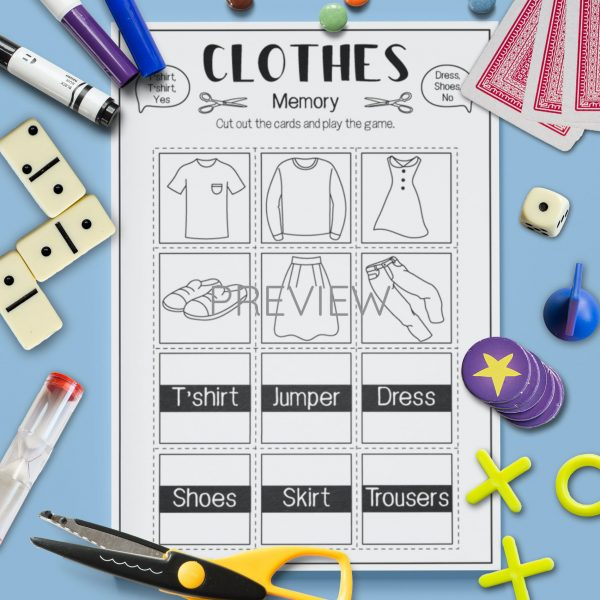ESL English Clothes Memory Game Activity Worksheet