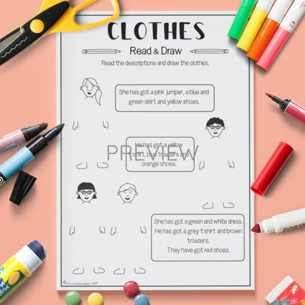 ESL English  Clothes Read And Draw Activity Worksheet