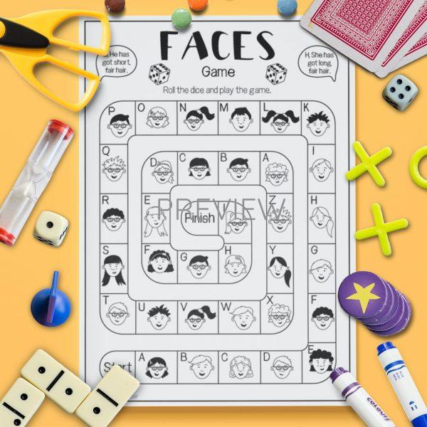 ESL English Face Board Game Activity Worksheet