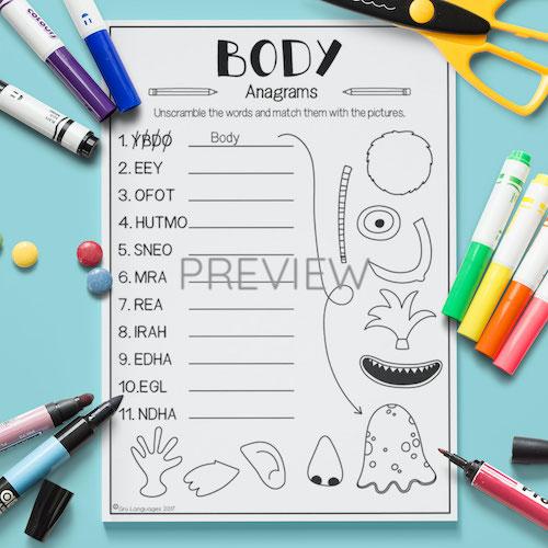 ESL English Face Body Anagrams Activity Worksheet