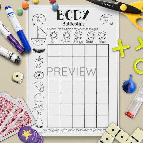 ESL English Face Body battleships Game Activity Worksheet