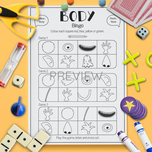 ESL English Face Body Bingo Game Activity Worksheet
