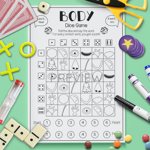 ESL English Face Body Dice Game Activity Worksheet