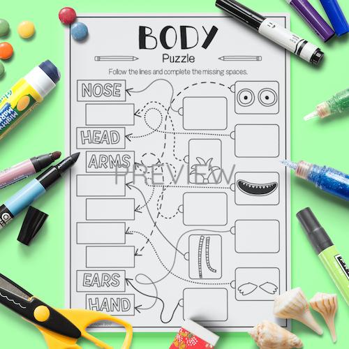 ESL English Face Body Puzzle Activity Worksheet