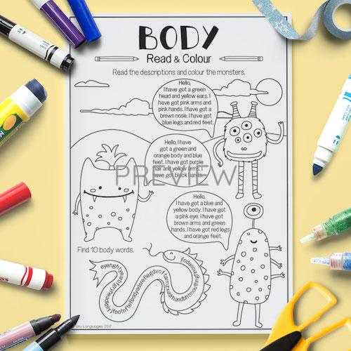 ESL English Face Body Read Colour Activity Worksheet