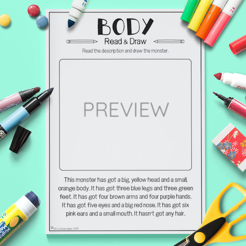 ESL English Face Body Read Draw Activity Worksheet