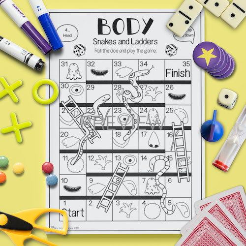 ESL English Face Body Snakes And Ladders Game Activity Worksheet