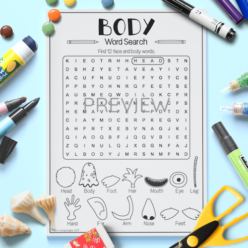 ESL English Face Body Word Search Activity Worksheet