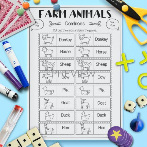 ESL English Farm Animal Dominoes Game Activity Worksheet