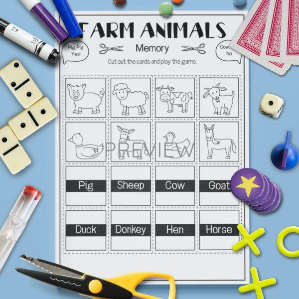 ESL English Farm Animal Memory Game Activity Worksheet
