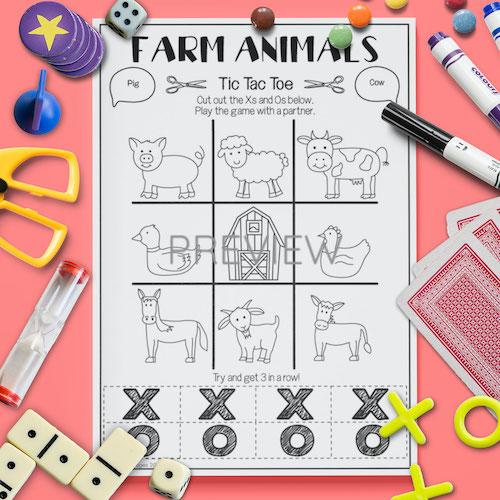 ESL English Farm Animal Tic Tac Toe Game Activity Worksheet