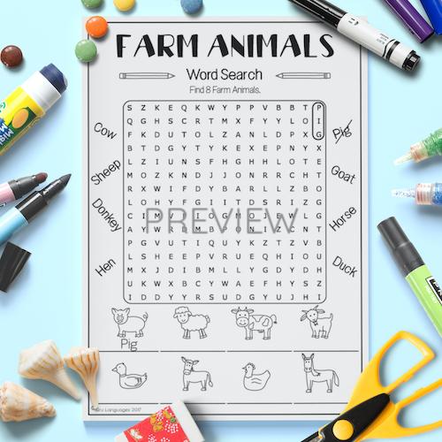 ESL English Farm Animal Word Search Activity Worksheet