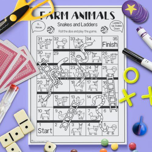 ESL English  Farm Animal Snakes Ladders Game Activity Worksheet