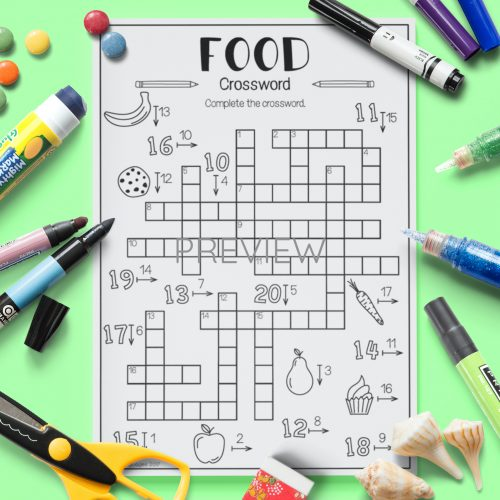 ESL English Food Crossword Activity Worksheet