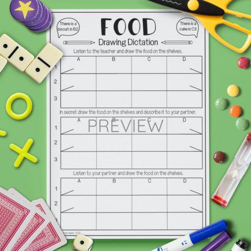 ESL English Food Drawing Dictation Activity Worksheet