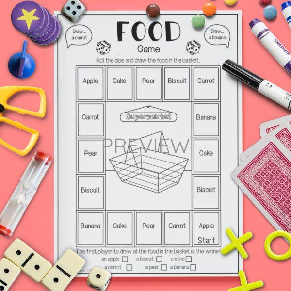 ESL English Food Drawing Game Activity Worksheet