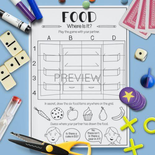 ESL English Food Grid Activity Worksheet