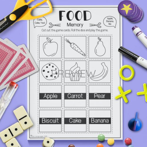 ESL English Food Memory Game Activity Worksheet