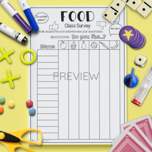 ESL English Food Class Survey Activity Worksheet
