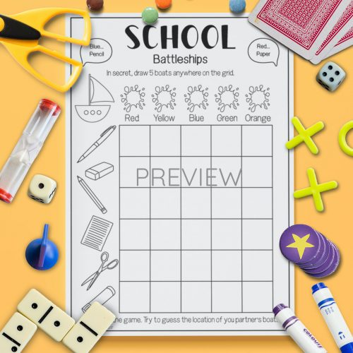 ESL English School Battleships Game Activity Worksheet