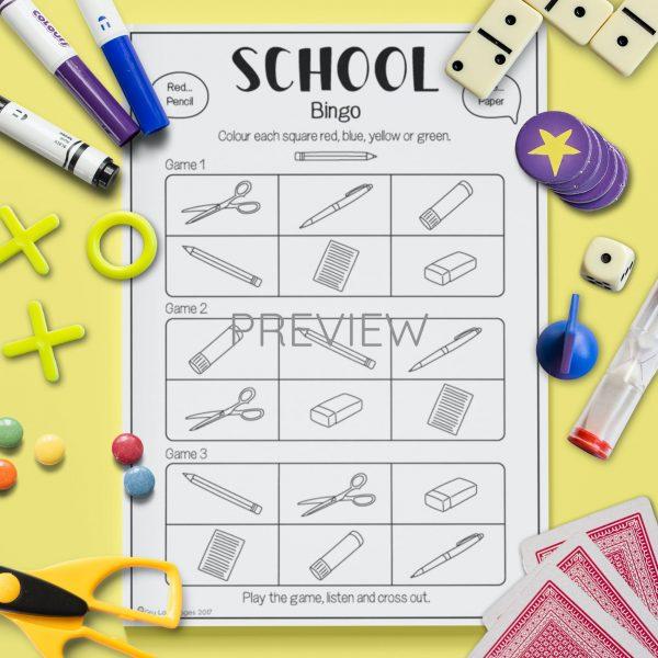 ESL English School Bingo Game Activity Worksheet