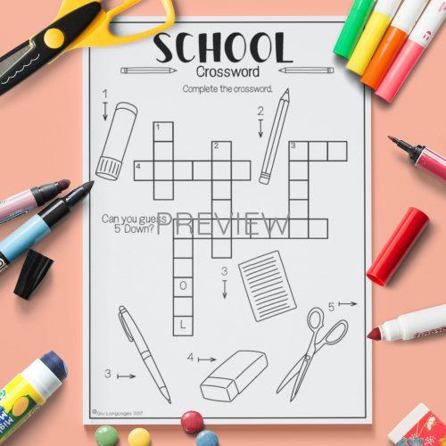 ESL English School Crossword Activity Worksheet