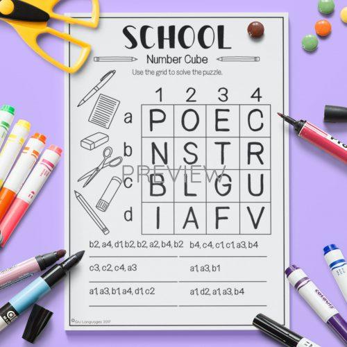 ESL English School Number Cube Puzzle Activity Worksheet