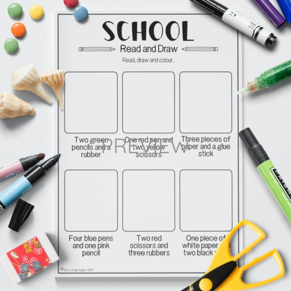 ESL English School Read And Draw Activity Worksheet