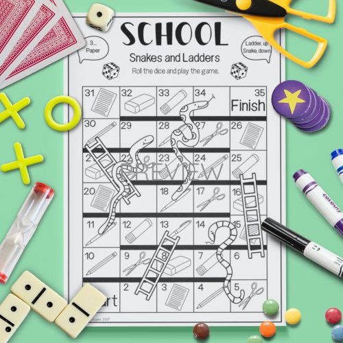 ESL English School Snakes And Ladders Activity Worksheet
