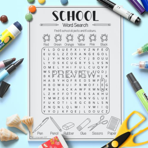 ESL English School Word Search Activity Worksheet