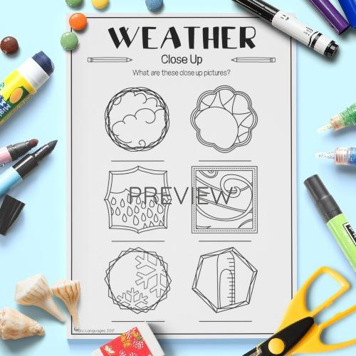 ESL English Weather Close Up Vocabulary Activity Worksheet