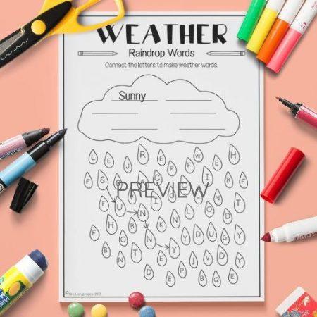 ESL English Weather Rain Drop Words Activity Worksheet