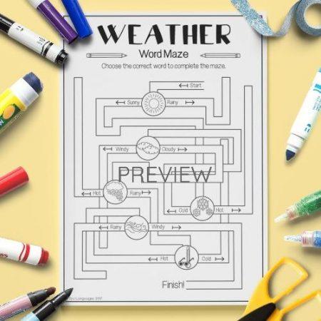 ESL English Weather Maze Activity Worksheet
