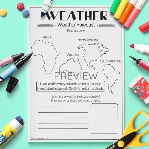 ESL English Weather Forecast Map Activity Worksheet
