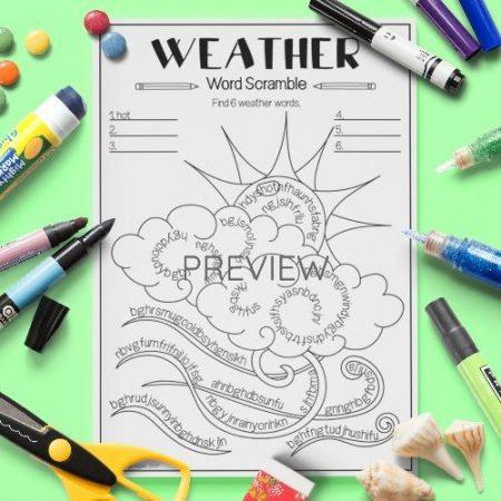 ESL English Weather Word Scramble Activity Worksheet