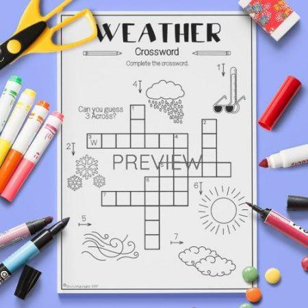 ESL English Weather Crossword Activity Worksheet