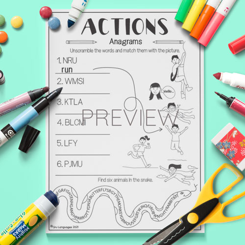 ESL English Actions Anagrams Activity Worksheet