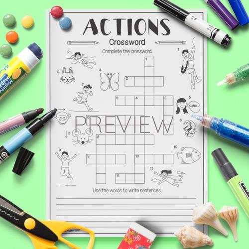 ESL English Actions Crossword Activity Worksheet