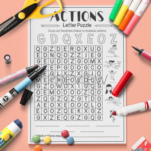 ESL English Actions Letter Puzzle Activity Worksheet