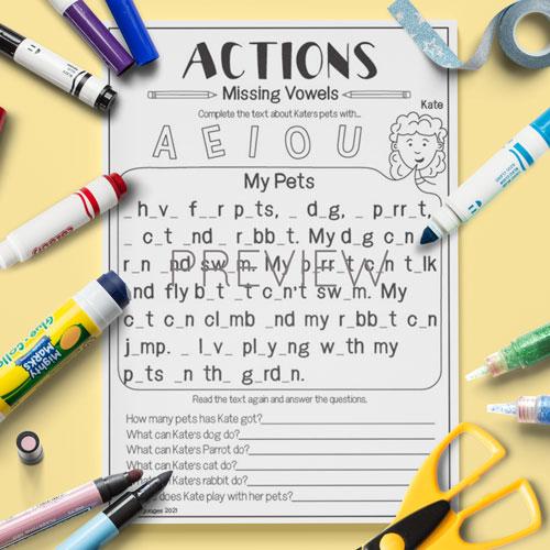 ESL English Actions Missing Vowels Activity Worksheet