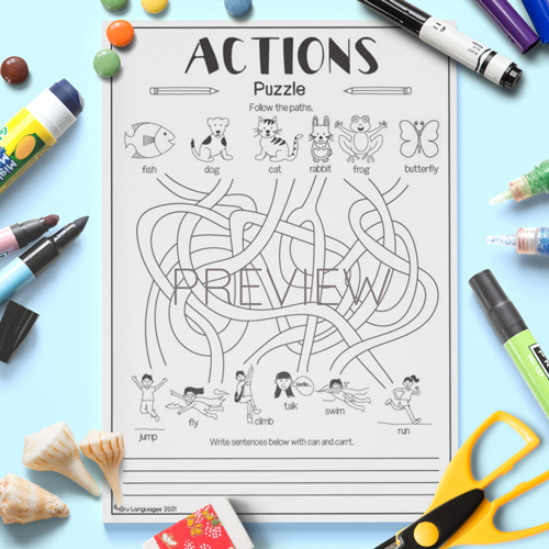 ESL English Actions Puzzle Activity Worksheet
